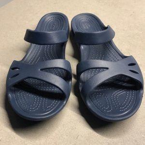 NWOT Navy Crocs Sandals Size 7